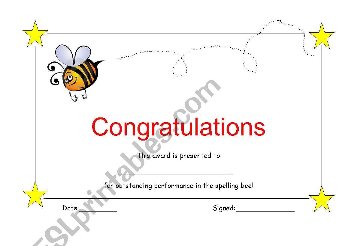 Spelling bee certificate worksheet