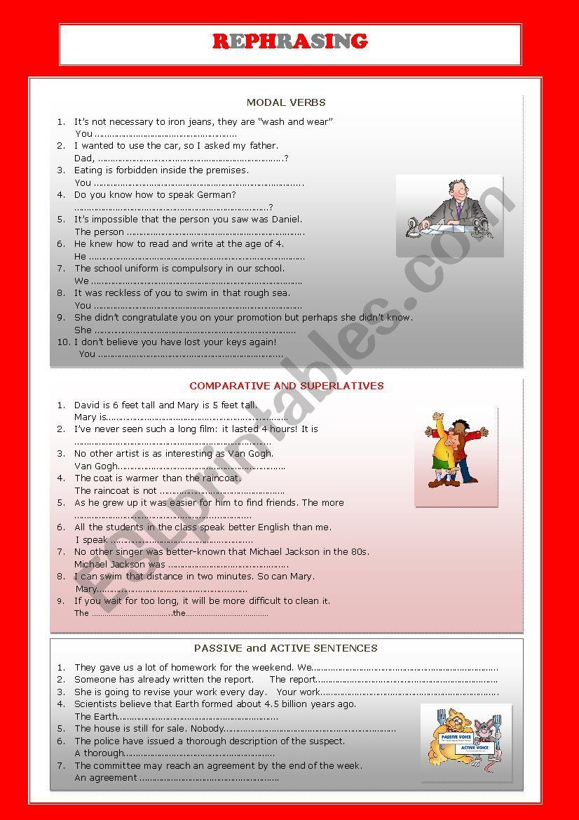 REPHRASING EXERCISES worksheet