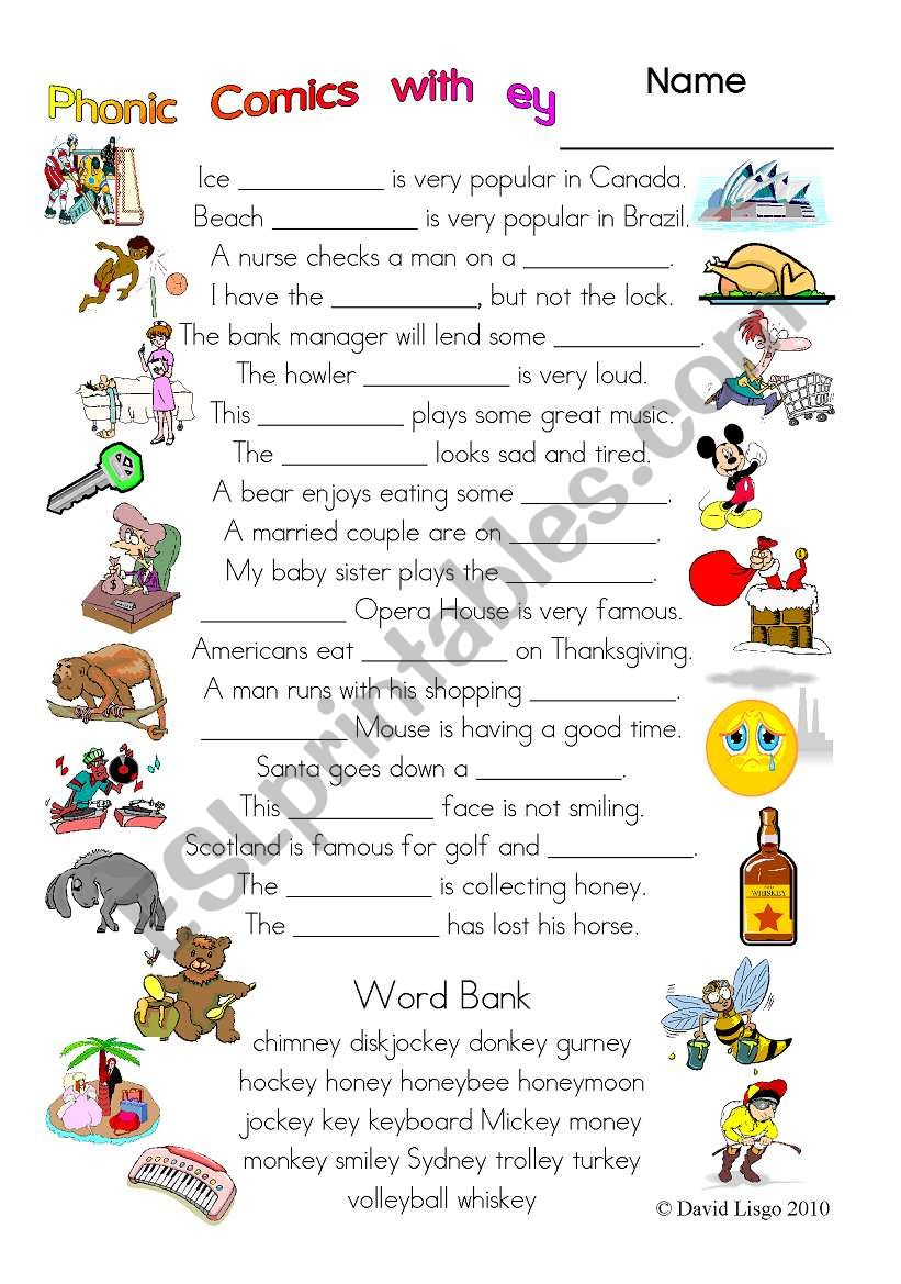 3 pages of Phonic Comics with ey: worksheet, comic dialogue and key (#31)