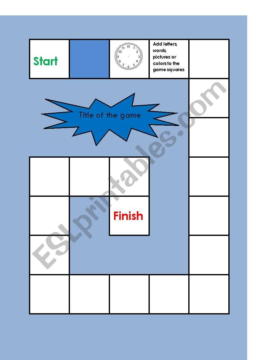board game template worksheet