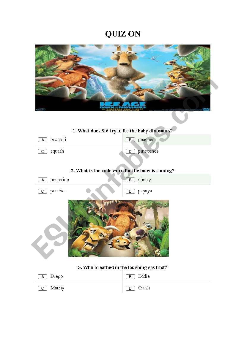 Quiz on Ice Age 3 - ESL worksheet by inha16