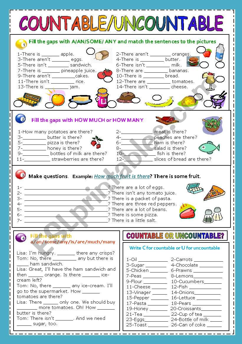 COUNTABLE/UNCOUNTABLE NOUNS worksheet