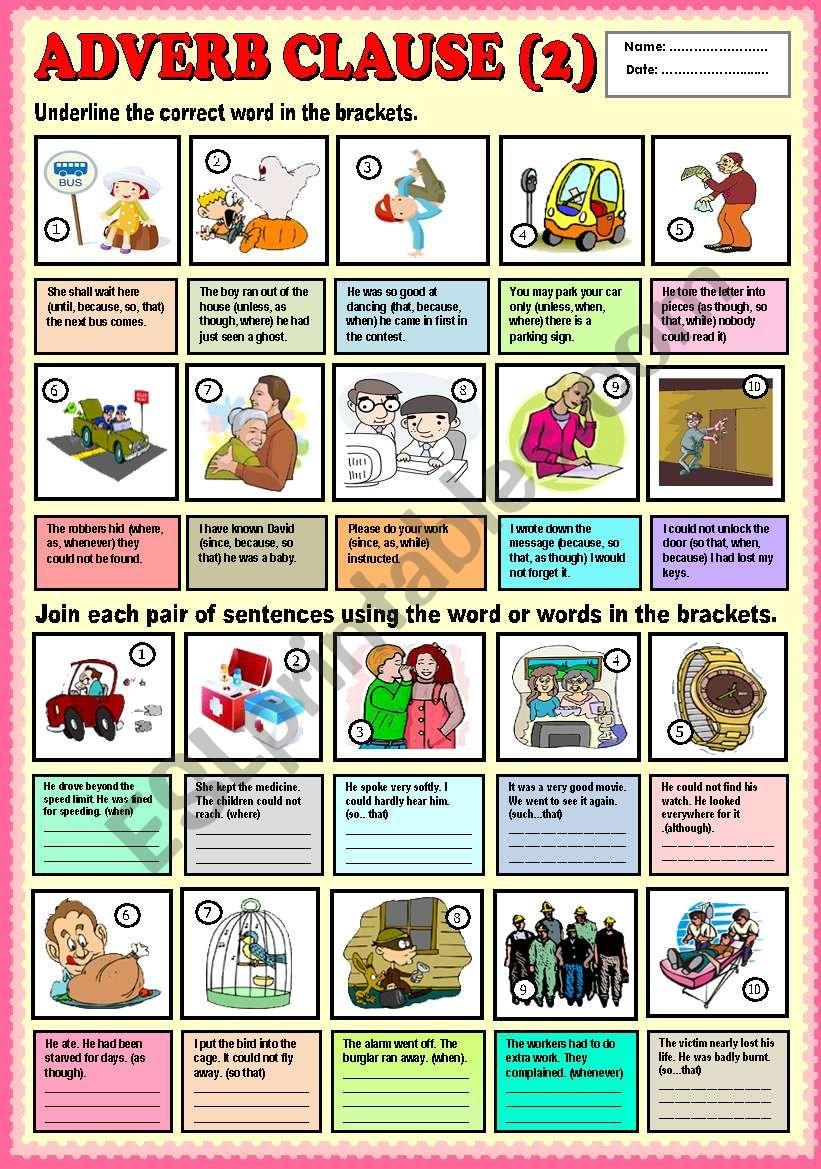Adverb Clause (part 2) + KEY worksheet