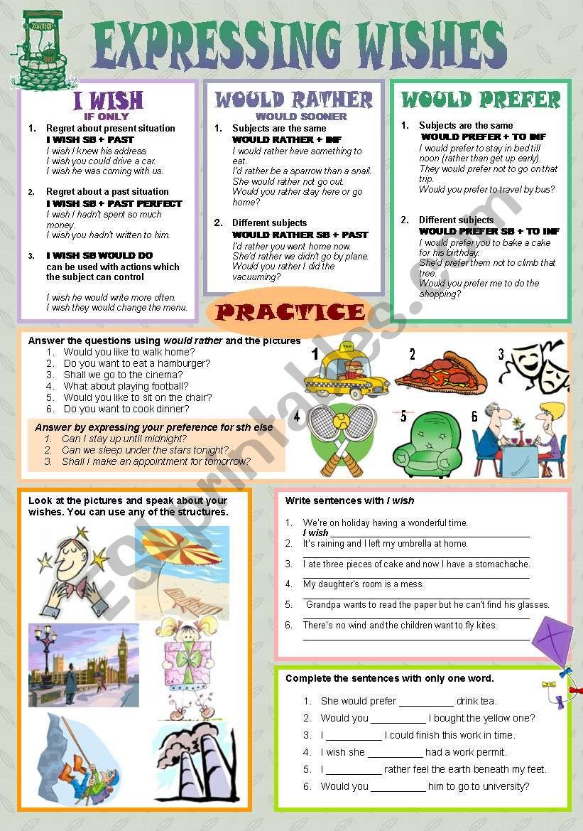 EXPRESSING WISHES worksheet