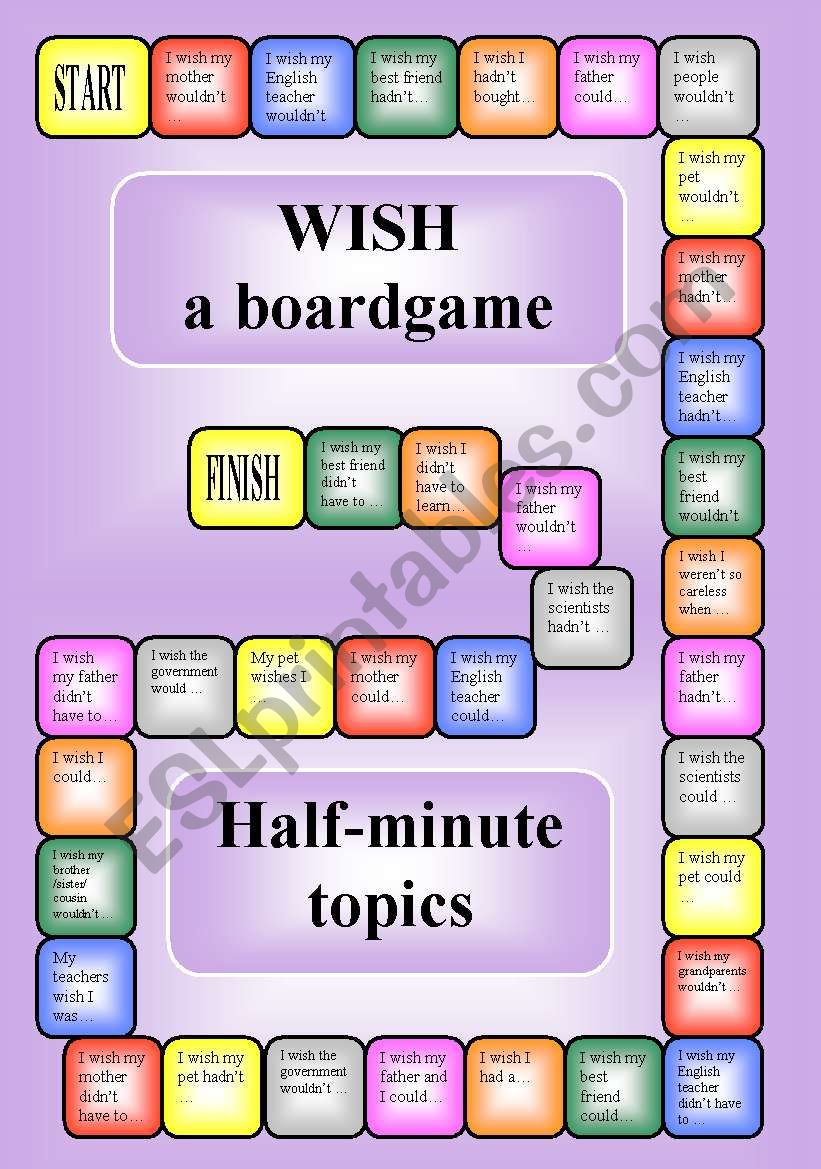 Wish - a boardgame (editable) worksheet