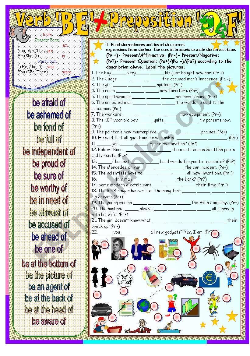 verb BE + preposition OF worksheet
