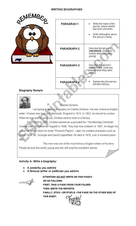 WRITIN BIOGRAPHIES worksheet