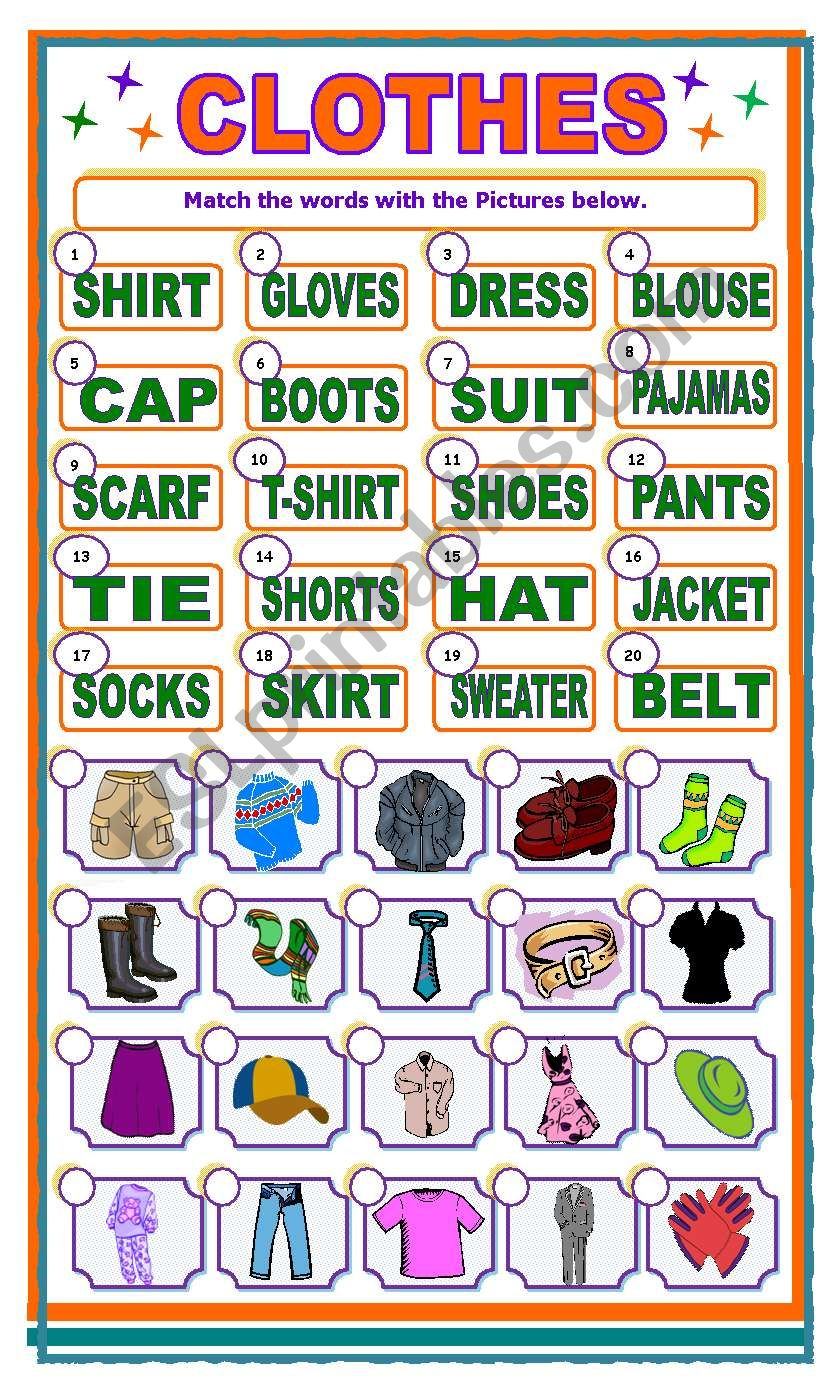 CLOTHES matching activity worksheet
