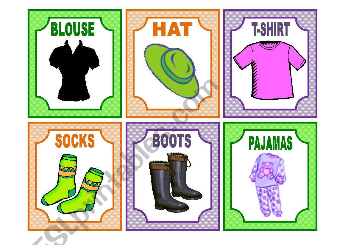 20 CLOTHES flashcards worksheet