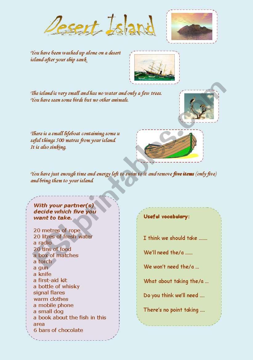 Desert Island game worksheet