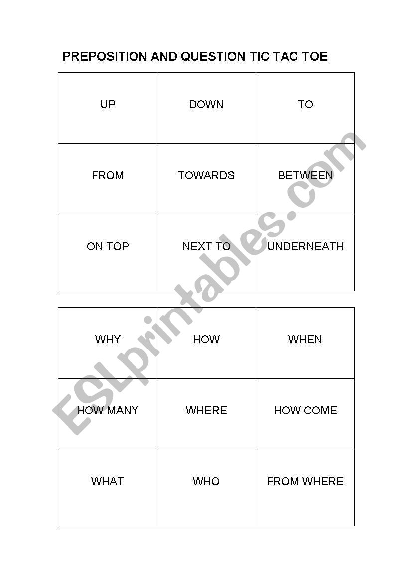 Preposition and Question Word Tic Tac Toe