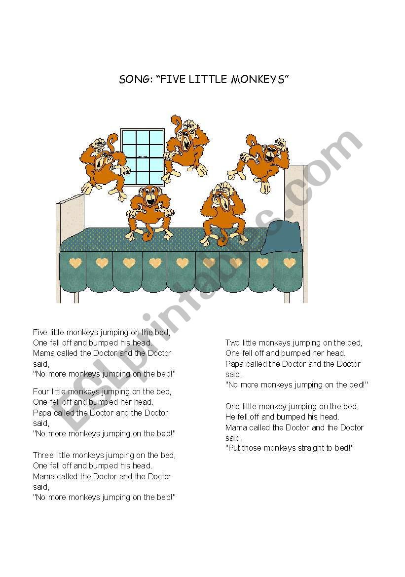 Five little monkeys worksheet
