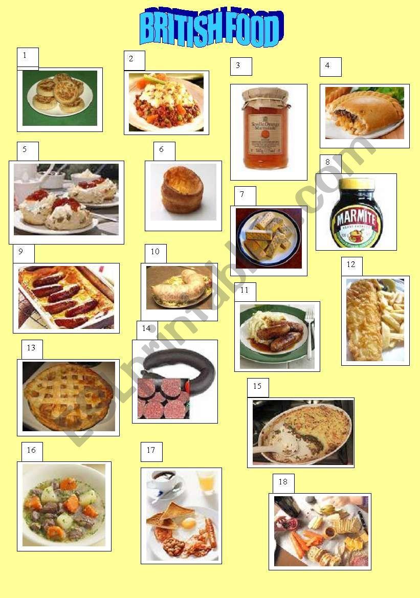 British food poster worksheet