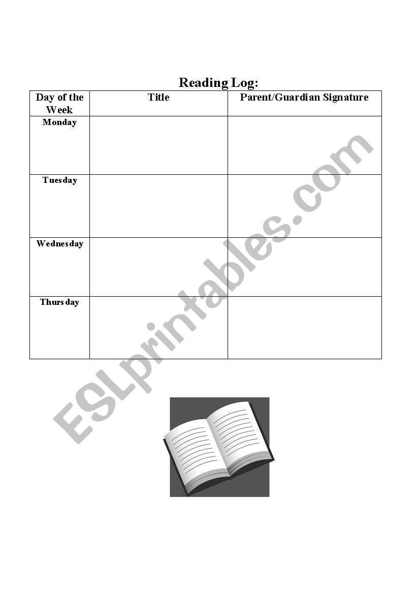 Daily Reading Log worksheet