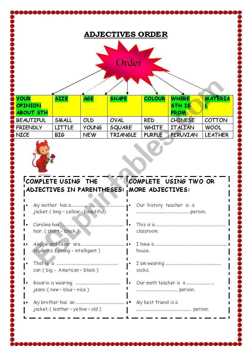 ADJECTIVES ORDER worksheet