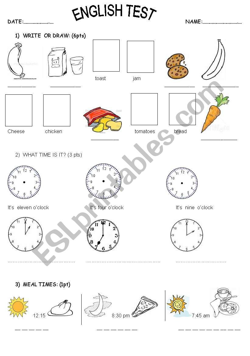 easy test food time o clock meal times esl worksheet by marianmanu. Black Bedroom Furniture Sets. Home Design Ideas