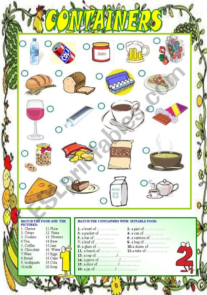 Food and Containers (editable)