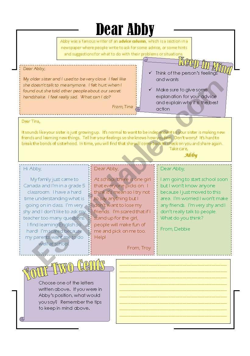 Writing Advice: Intermediate worksheet