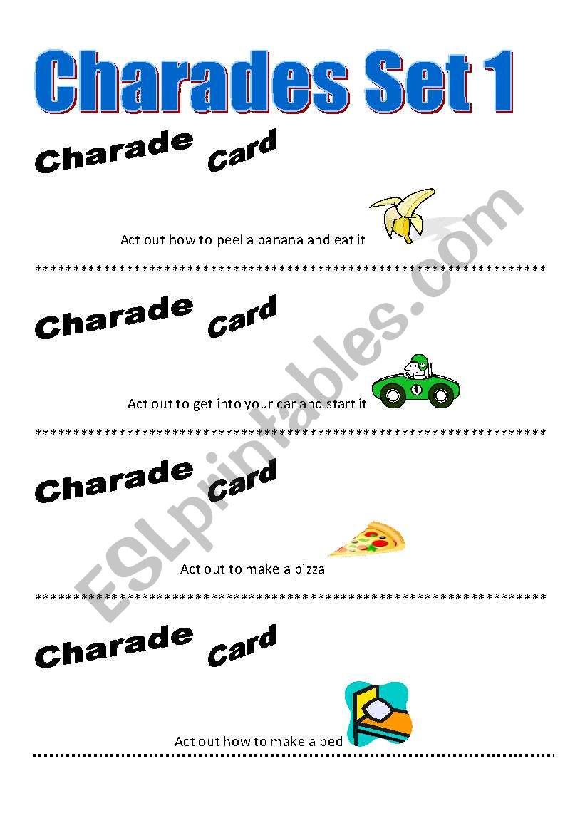Charades Game worksheet