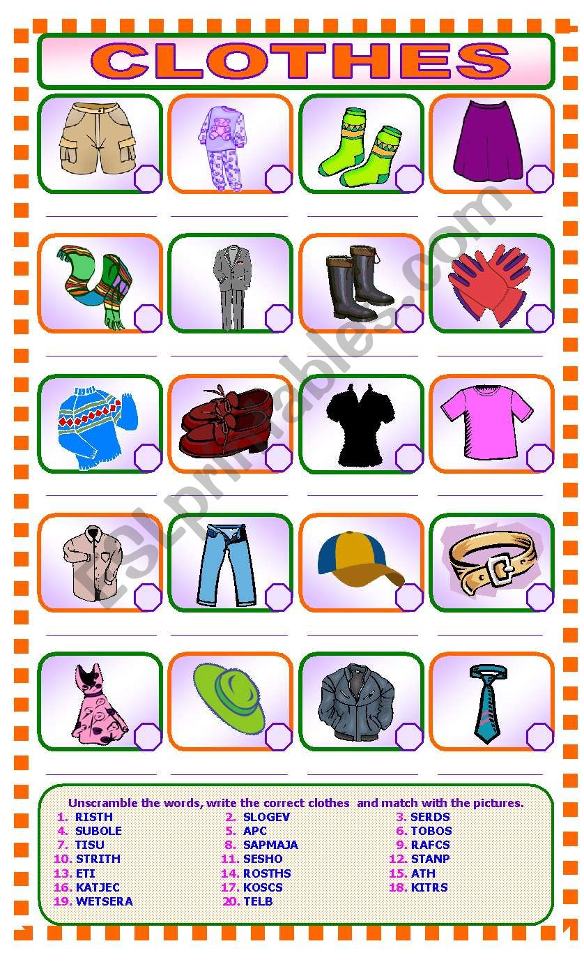 CLOTHES  Unscramble and Match worksheet
