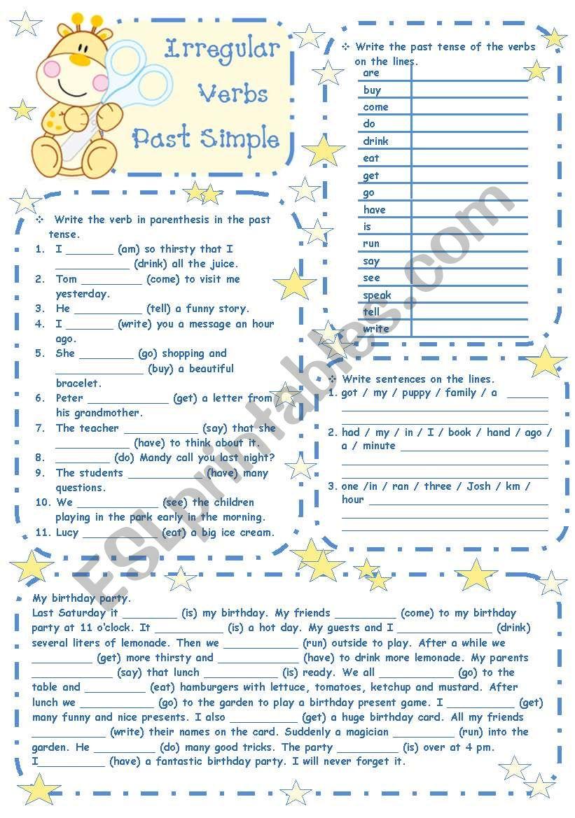 Irregular verbs - Past simple worksheet