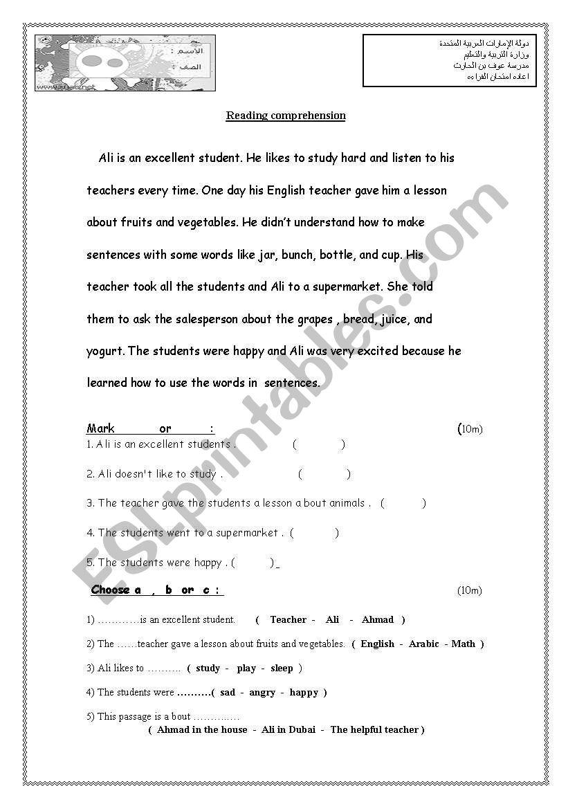 Exam Grade 4 Esl Worksheet By Saeed Alameri