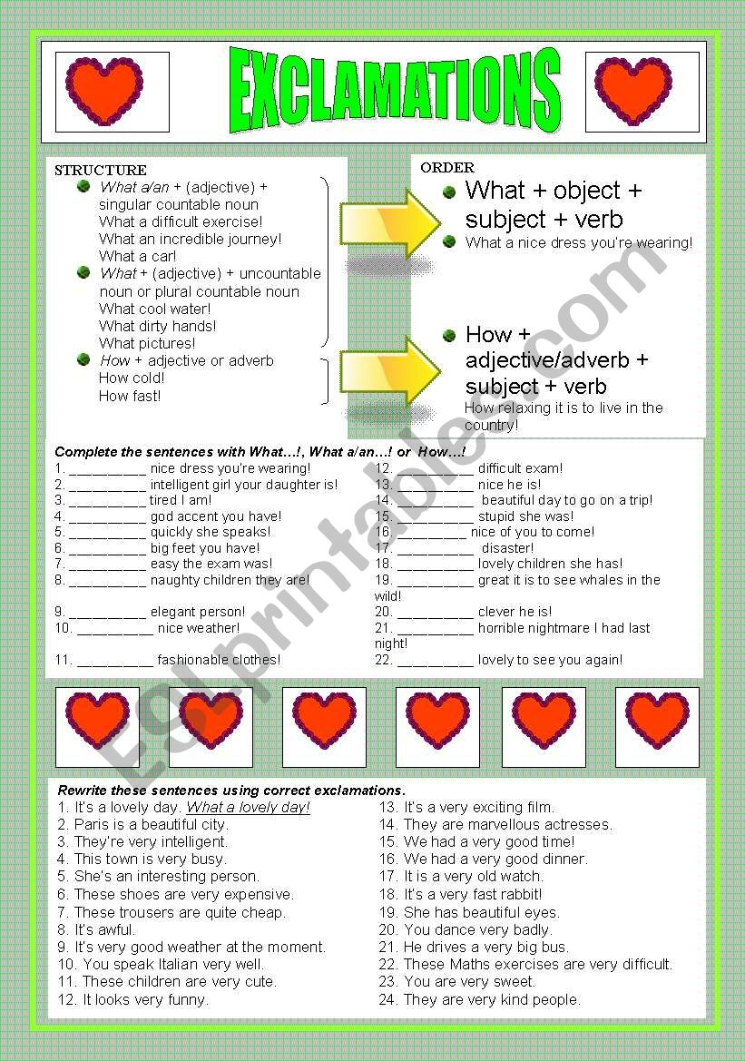 Exclamations!!!!!!! worksheet