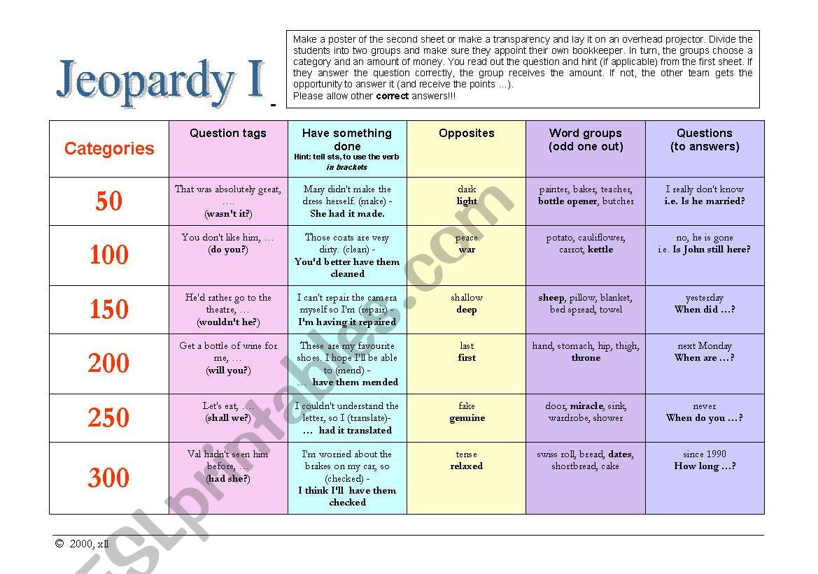 Jeopardy I - General English worksheet