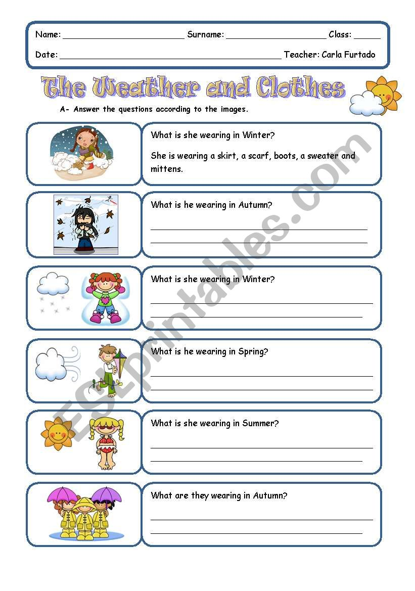 The Weather And Clothes Esl Worksheet By Achadinha