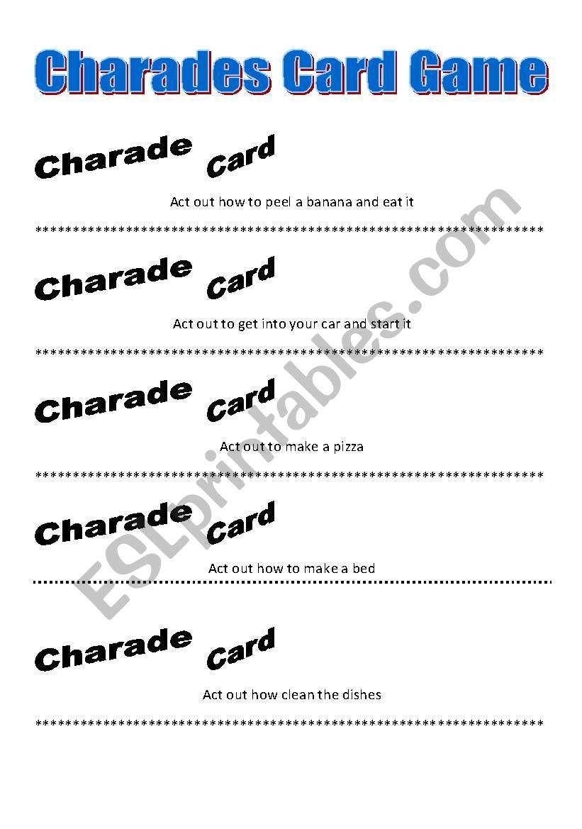 Charades Card Game (Part 2) worksheet