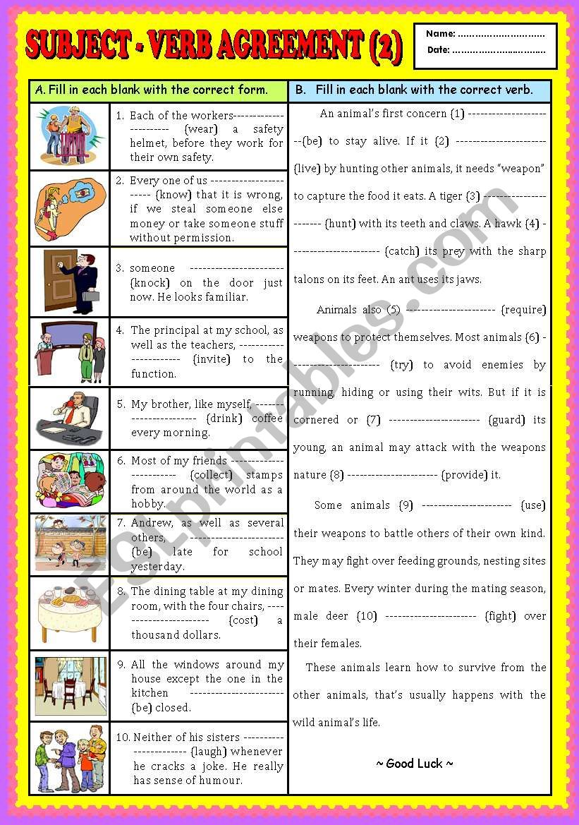 Subject Verb Agreement Part 2 Key Esl Worksheet By Ayrin