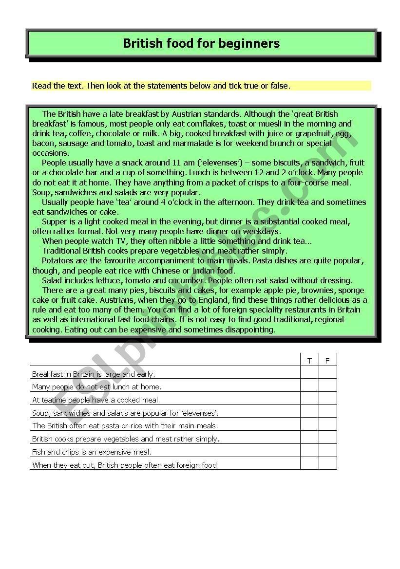 British food for beginners worksheet