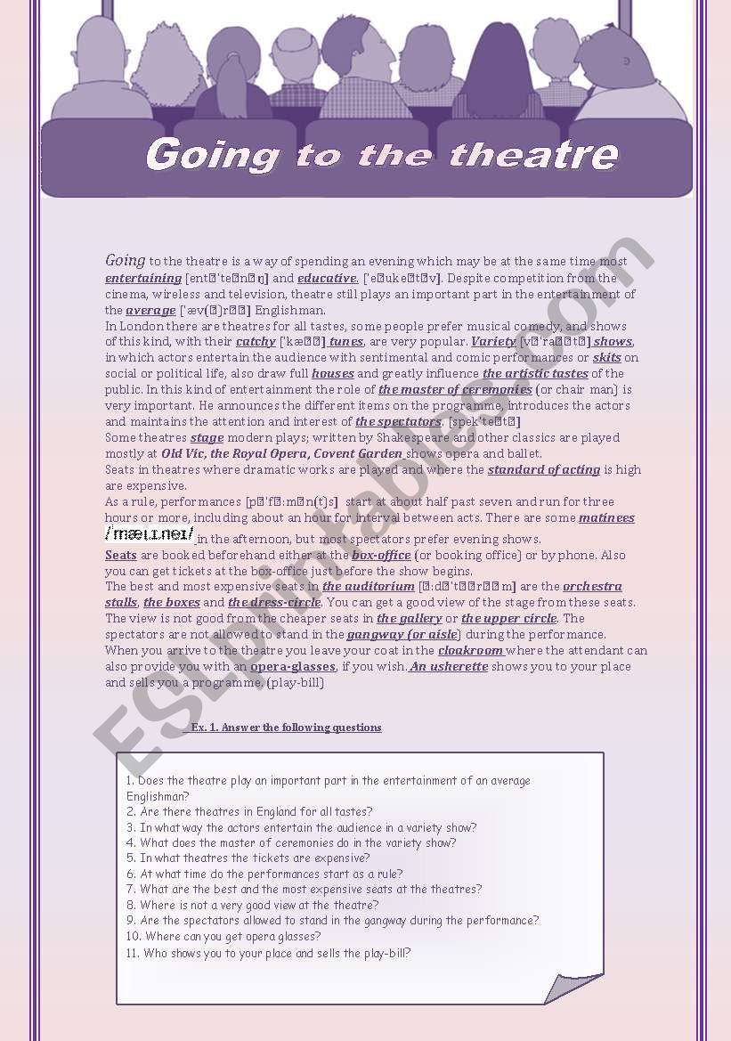 Going to the theatre worksheet