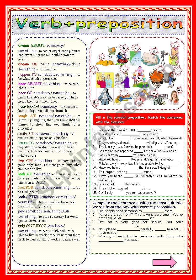 Verb+preposition (Part 2) worksheet