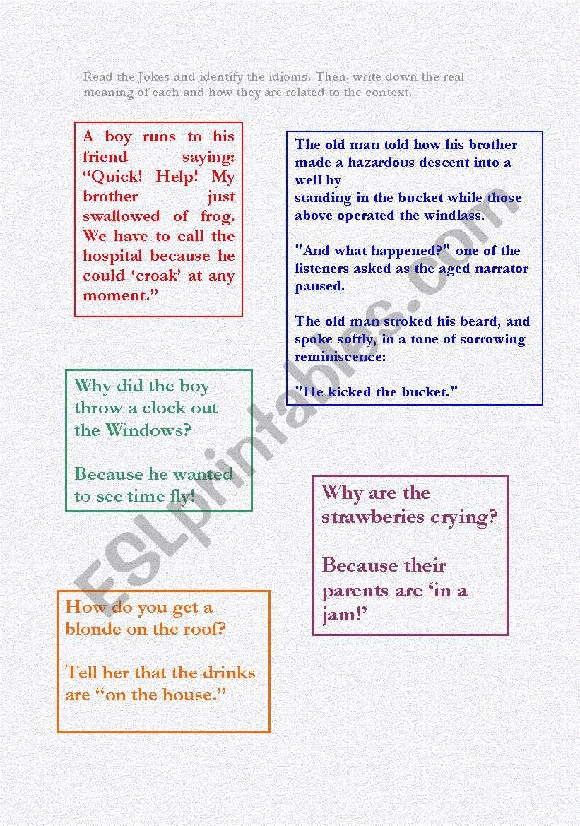 Jokes Containing Idioms worksheet