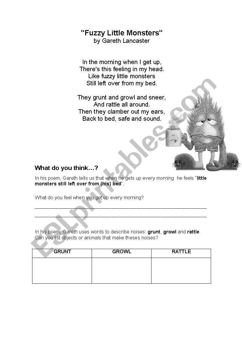 FUZZY LITTLE MONSTERS worksheet