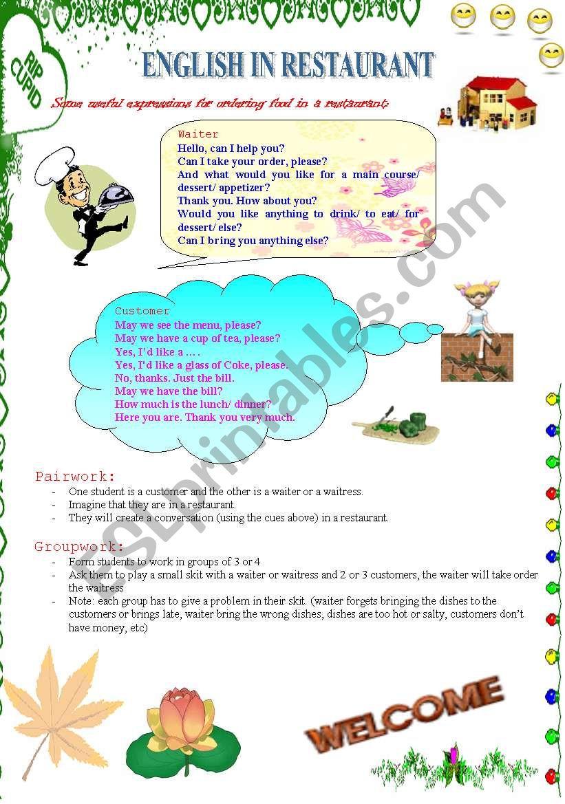 English in restaurant (1) worksheet