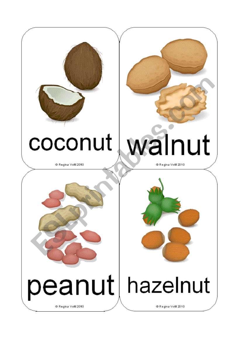 Fruit / Vegetable Flashcards (Nuts & Berries) (12 cards)