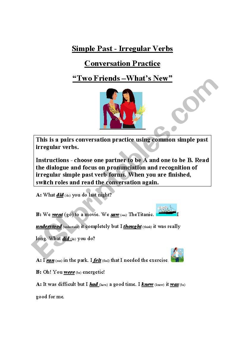A Conversation Script - to help students recognize and pronounce simple past irregular verb forms