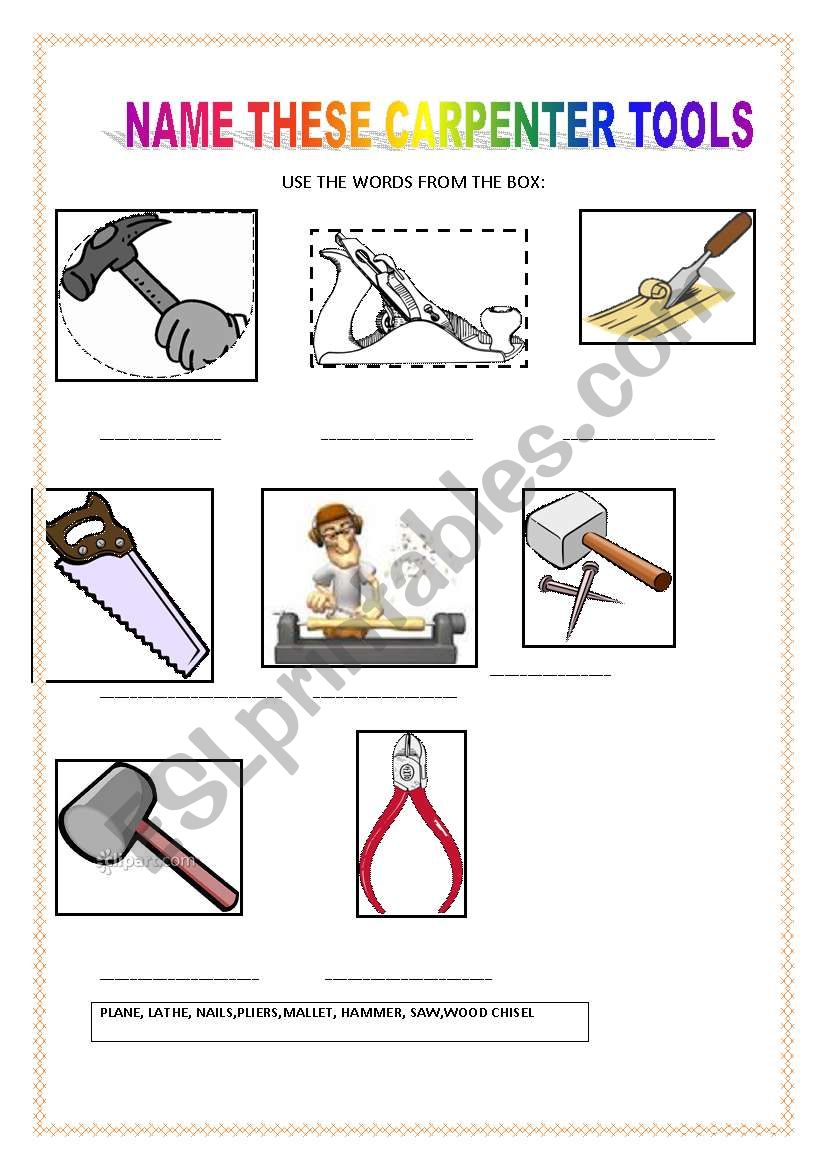 english worksheets  carpenter tools