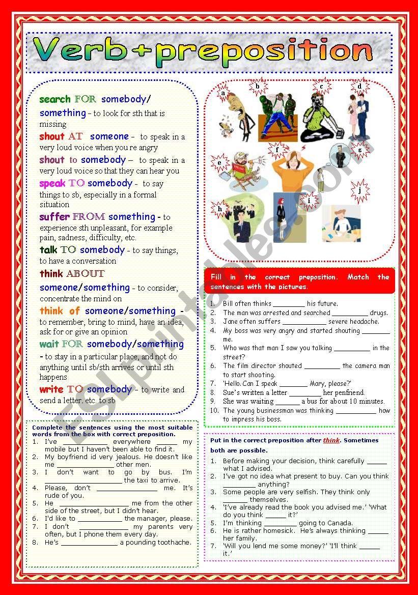 Verb+preposition (Part 3) worksheet