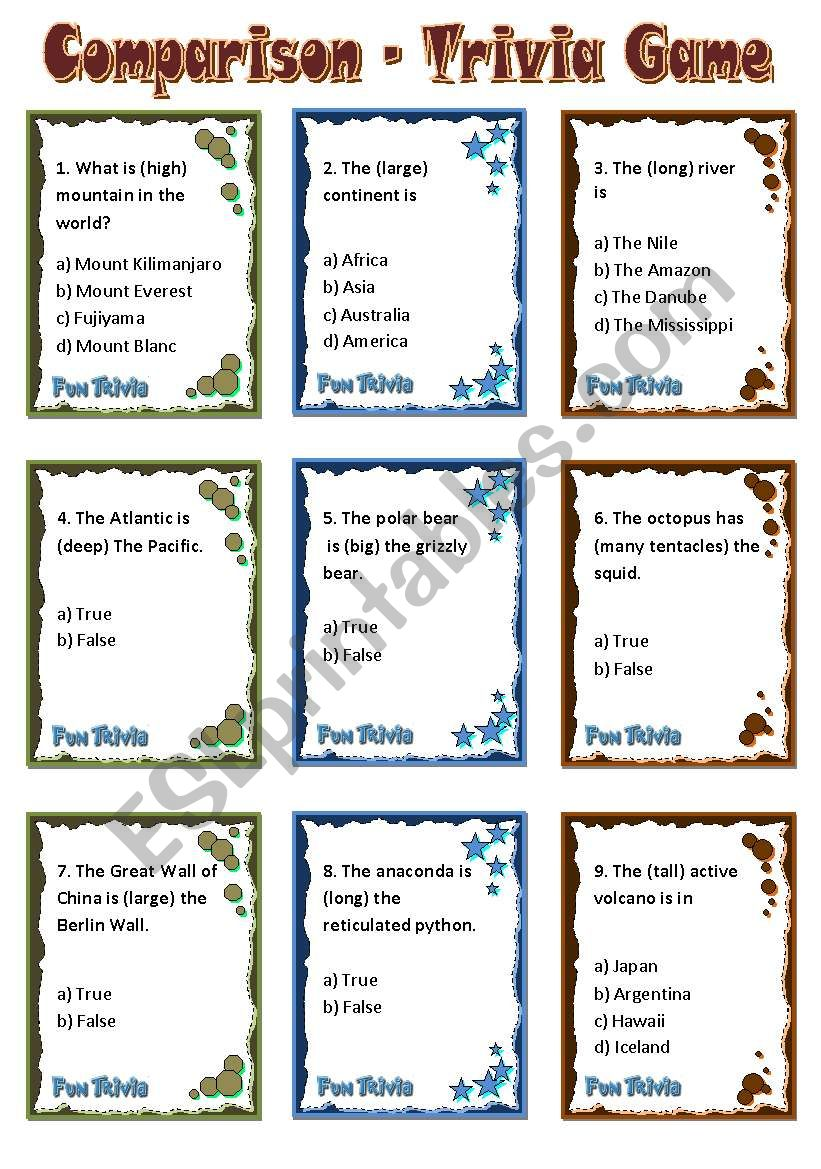 Comparison - Trivia Game Cards
