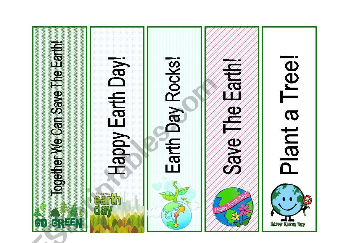 Earth Day Bookmarks worksheet