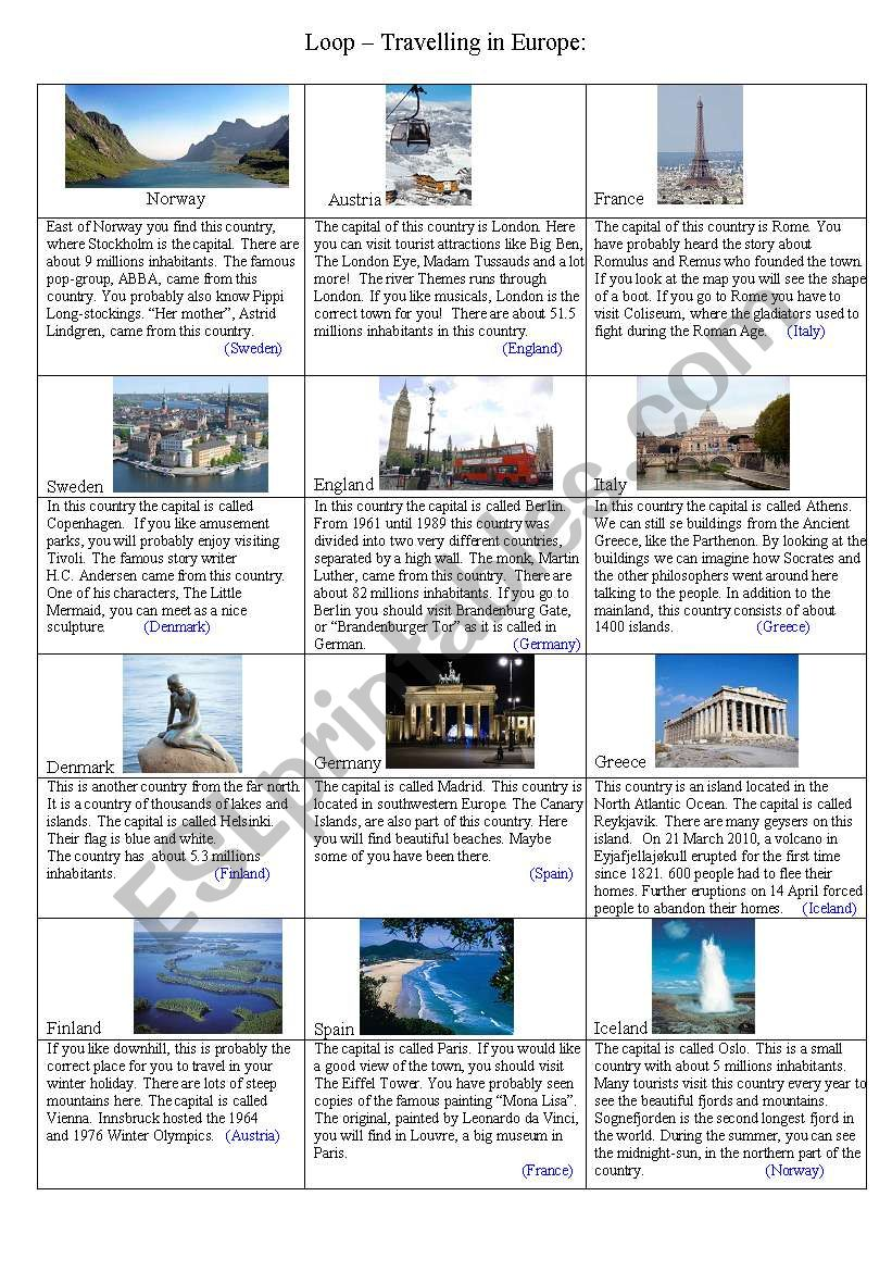 Loop - Travelling in Europe worksheet