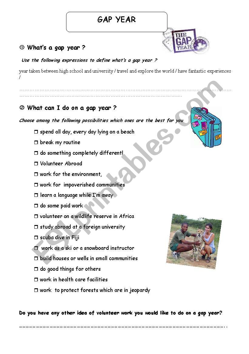 WHAT IS A GAP YEAR worksheet