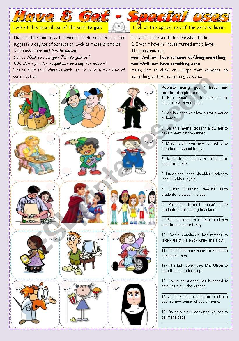 Special uses of have and get - grammar guide & exercises ***fully editable