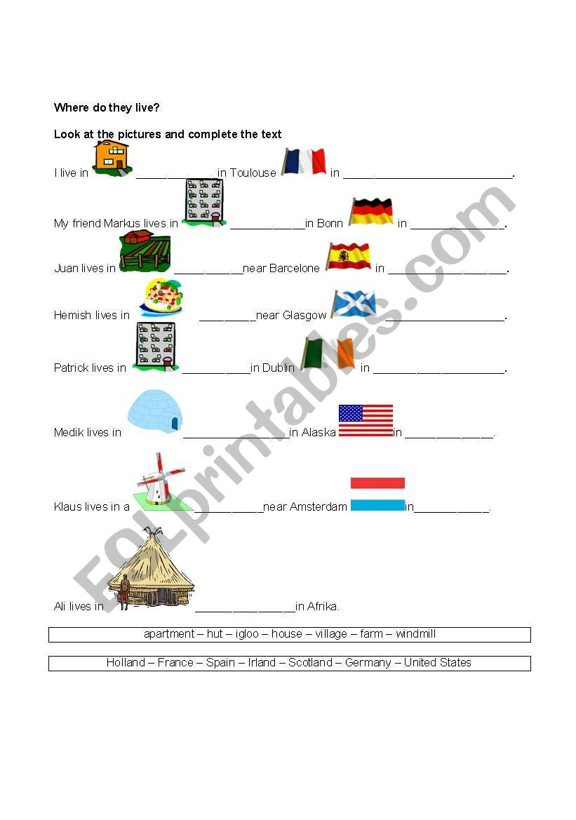 Where do they live? worksheet