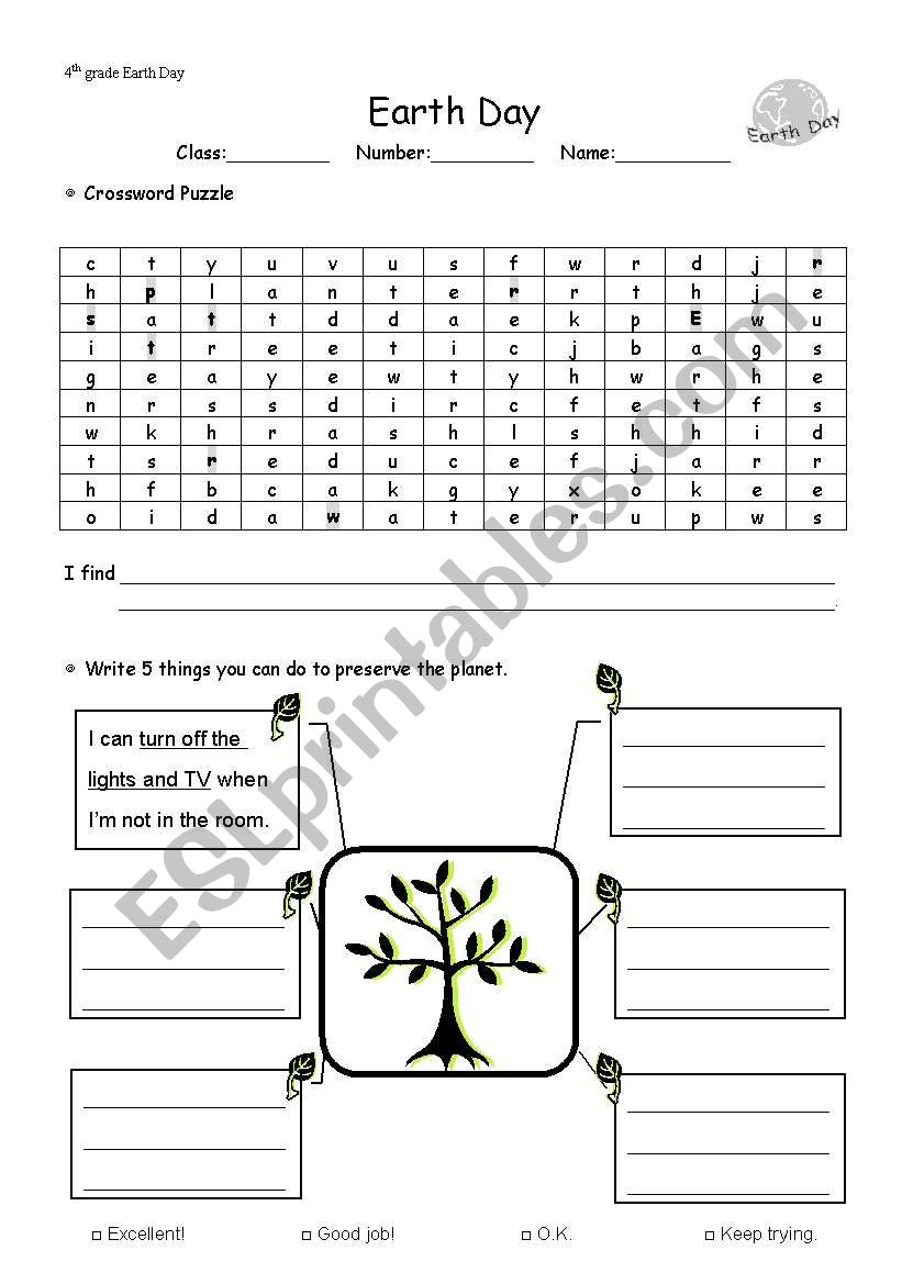 image relating to Earth Day Crossword Puzzle Printable titled World Working day - ESL worksheet via heyihua