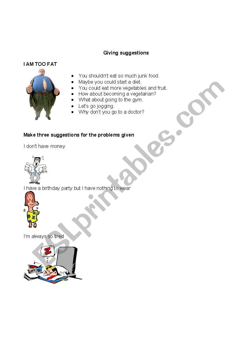 giving suggestions worksheet