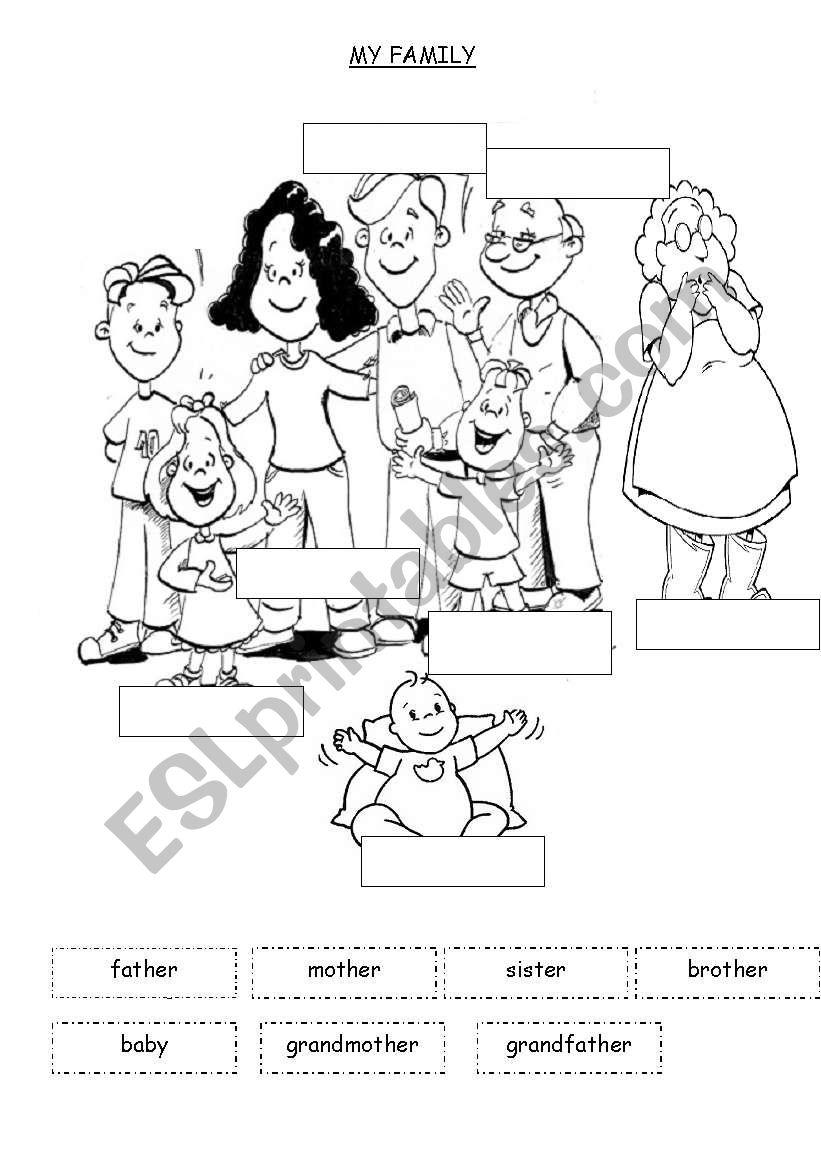 Esl elementary worksheets family